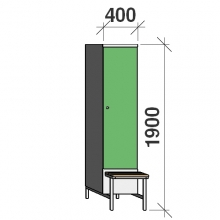 Locker with a bench, 1x400 1900x400x830, sep. wall