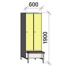 Locker with a bench, 2x300 1900x600x830