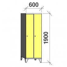 Locker 2x300, 1900x600x545, long door