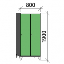 Locker 2x400, 1900x800x545, long door, sep. wall
