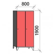 Riidekapp 2x400, 1900x800x545, pikk uks