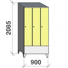 Locker 3x300, 2085x900x545 short door, sloping top