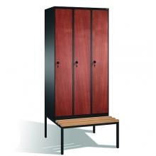 3-door locker with bench, 2090x900x815, MDF doors