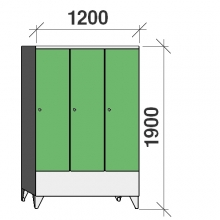 Locker 3x400, 1900x1200x545, short door, sep. wall