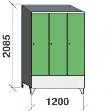 Riidekapp 3x400 2085x1200x545, lühike uks, vahesein, kaldkatusega