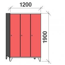 Riidekapp 3x400, 1900x1200x545, pikk uks