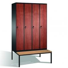 4-door locker with bench, 2090x1190x815, MDF doors