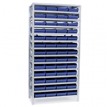 Small parts shelving 2100x1000x300, 52 bins 300x240x95