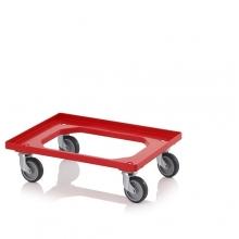 Kastikäru ratastega 620x420x100mm, punane plastik