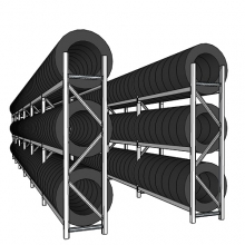Tyre racking for a 40-foot container