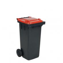 Refuse bin 120 L, red lid