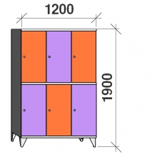 2-Tier locker, 6 doors, 1900x1200x545 mm