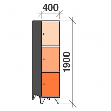 3-Tier locker, 3 doors, 1900x400x545 mm
