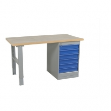 Worktable w. draw. 6 draw. 2000x800 mm, oak
