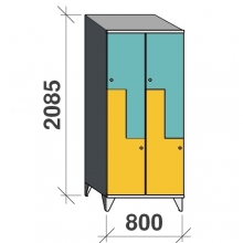 Z-locker 2085x800x545, 4 doors with sloping top