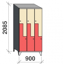 Z-locker 2085x900x545, 6 doors with sloping top