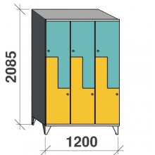 Z-locker 2085x1200x545, 6 doors with sloping top