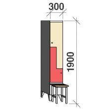 Z-kapp 1900x300x845, 2 ust, pingiga