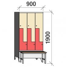 Z-kapp 1900x900x845, 6 ust, pingiga