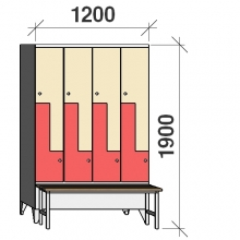 Z-locker 1900x1200x845, 8 doors, with bench